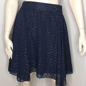 Joe Fresh Textured Polka Dot Navy Blue Skirt